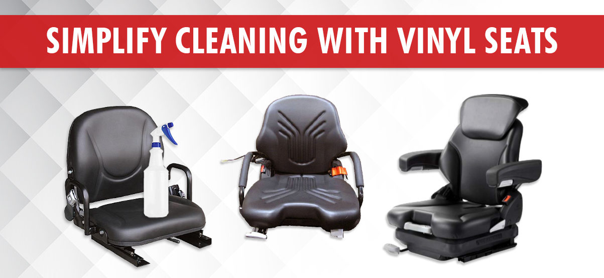 Vinyl Forklift Seats available from Wolter Group LLC make sanitizing equipment easier.